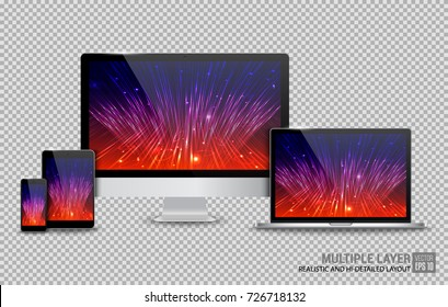 Realistic Computer, Laptop, Tablet and Smartphone with Technology Screen Isolated on Transparent Background. Use for Template. Set of Device Mockup. Separate Groups and Layers. Easily Editable.