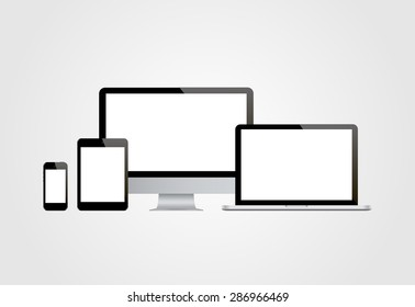 Realistic computer monitor, computer, laptop, phone, tablet.  Vector illustration.