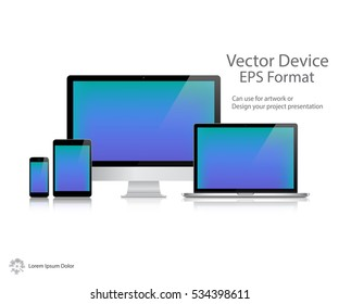 Realistic Computer Monitor, Laptop, Tablet and Mobile Phone with Shadow Screen Isolated. Can Use for Template Presentation. Electronic Gadget, Set of Device Mockup. Vector Illustration