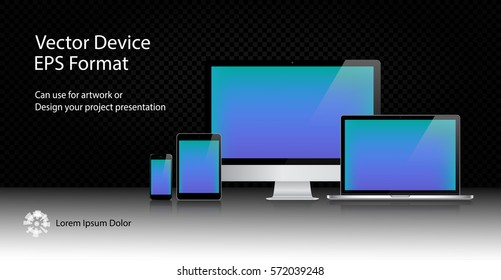 Realistic Computer Monitor, Laptop, Tablet and Mobile Phone with Blue Screen Isolated. Can Use for Template Presentation. Electronic Gadget, Set of Device Mockup. Vector Illustration