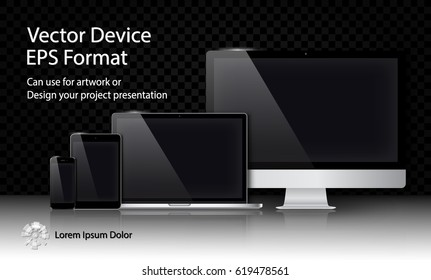 Realistic Computer Monitor, Laptop, Tablet and Smart Phone with Blank Screen Isolated on Black Transparent Background. Can Use for Template Project Presentation. Electronic Gadget, Device Mockup Set.