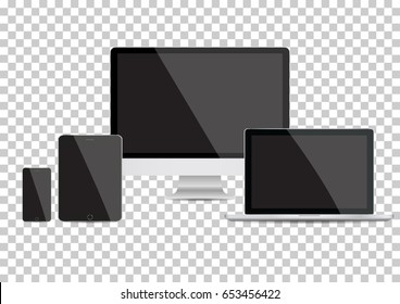 Realistic Computer Monitor, Laptop, Tablet and Smart Phone with Blue Screen Isolated on Transparent Background. Can Use for Template Project Presentation. Electronic Gadget, Device Mockup Set.
