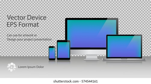 Realistic Computer Monitor, Laptop, Tablets and Smartphone with Blue Screen Isolated. Can Use for Template Presentation or Banner. Electronic Gadgets, Device Set Mock Up. Vector Illustration.