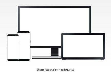 Realistic computer monitor Samsung, tablet Samsung Galaxy View and mobile phones Samsung Galaxy S8, S8 Edge with blank screens isolated. Set of electronic devices mockups. Vector illustration