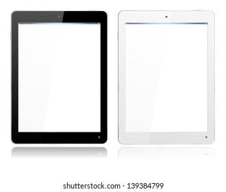 Realistic computer tablet in Black and White ipade style with separate layer so you can easily add your own image to screens