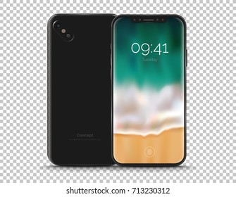 Realistic conceptual smart phone with a bezel-less screen. Mock-up illustration for presentation mobile app designs. High-quality and detailed vector illustration isolated on white background.