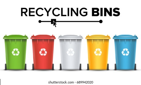 Realistic Containers For Recycling Waste Sorting Vector. Set Of Red, Green, Blue, Yellow Buckets.