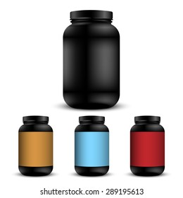 Realistic containers for sports nutrition. Vector set