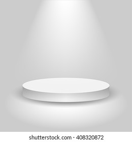 Realistic contest stage, empty white podium, place for product placement for presentation, winner podium or stage on gray background, vector