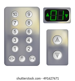 Realistic Control panel of the elevator on a white background. Metal elevator panel with 