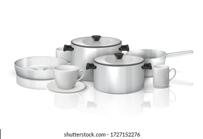Realistic cookware. 3D kitchen utensils and crockery, steel kitchenware and white dishes. Vector illustration isolated set of clean cooking tools, pans and pots on glossy surface with reflection