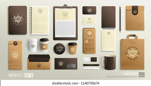 Realistic Corporate Brand identity Mockup set for Coffee shop, fast-food restaurant. Coffee branding mockup set with logo template, fast-food  packaging, paper shoping bag and staionery elements