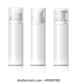 Realistic Cosmetic bottle can sprayer container. Dispenser for cream, soups, and other cosmetics With lid. Template For Mock up Your Design. vector illustration.