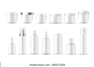 Realistic Cosmetic bottle can sprayer container. Dispenser for cream, foams and other cosmetics with lid and without. Template For mock up Your design.