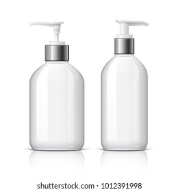 Realistic cosmetic bottle dispenser on a white background. Cosmetic package for cream, soups, foams, shampoo, glue. Mock up set for brand template. vector illustration.