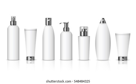 Realistic cosmetic bottles with dark silver caps on white background. Cosmetic cream containers and tubes for cream, lotion, shampoo, gel, balsam, conditioner, spray. 3d Vector Illustration
