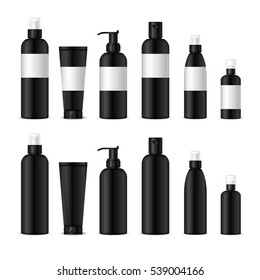 Realistic cosmetic bottles on white background. Cosmetic cream containers and tubes for cream, lotion, shampoo, gel, balsam, conditioner, spray.Design black label for container. 3d Vector Illustration