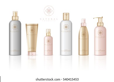 Realistic cosmetic bottles on white background. Cosmetic cream containers and tubes for cream, lotion, shampoo, gel, balsam, conditioner, spray. 3d Vector Illustration