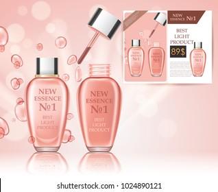 Realistic cosmetic bottles. Product shopping, magazine design