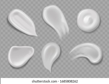 Realistic cosmetic cream smears vector set. White cream drops for skincare product, smear texture illustration.