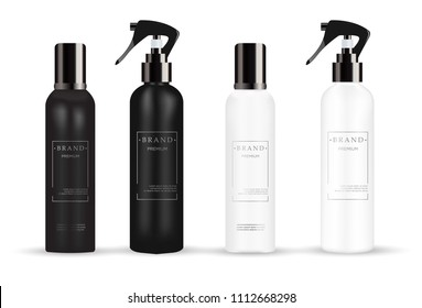 Realistic cosmetic mockup.  Packages for cosmetic product.  Blank templates of containers vial with dropper, spray, bottle for shower gel, lotion, shampoo with  pump dispenser, jar, tube.