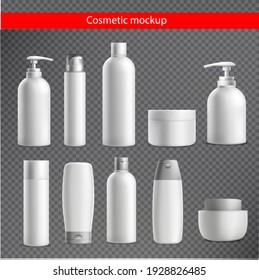 Realistic cosmetic mockup. Packages for cosmetic product. Blank templates of containers vial with dropper, bottle for shower gel, lotion, shampoo with pump dispenser, jar, tube for cream.