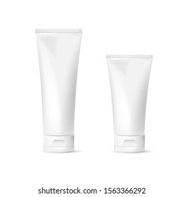 Realistic Cosmetic package for cream, soups, foams, shampoo isolated on white background. Vector illustration. Eps 10.