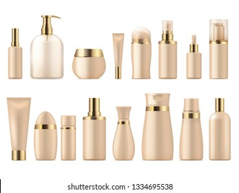 Realistic cosmetic package. Gold beauty product 3D mockup shampoo bottle lotion pump. Luxury package golden vector template