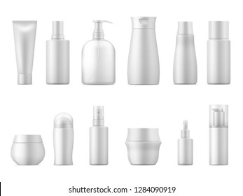 Realistic cosmetic package. Product bottle pack 3D white plastic lotion tube shampoo container blank empty package. Beauty vector set