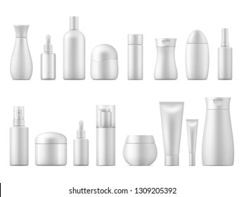 Realistic cosmetic package. White product bottle plastic lotion shampoo spray container blank 3D tube pack dispenser vector template