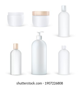 Realistic cosmetic packaging set of clean plastic bottles, blank lotion shampoo tube, care cream boxes.