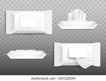 Realistic cosmetic wet wipe pack mockup set with open and closed flap from top and side view isolated on transparent background - blank template vector illustration