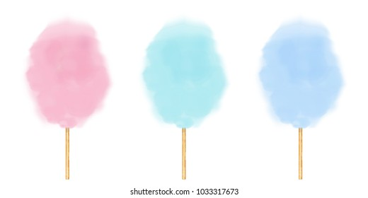 Realistic cotton candy set.  Vector isolated  illustration on white background.