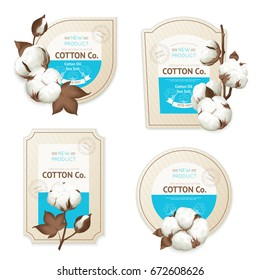 Realistic cotton emblem package icon set with cotton oil sea soft description vector illustration