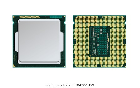 Realistic cpu front and back view