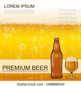 Realistic craft beer background with glass and bottle full of fresh frothy drink vector illustration