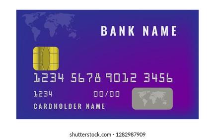 Realistic credit bank design template. Vector illustration.