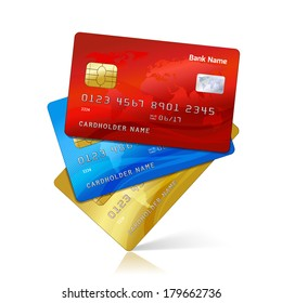Realistic credit cards collection with reflection isolated vector illustration