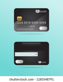 Realistic credit cards front and back color detailed black card with cardholder name,bank logo,magnetic stripe,signature blank,isolated vector on green background