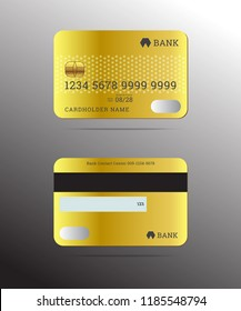 Realistic credit cards front and back design golden color card with cardholder name,bank logo,magnetic stripe,signature blank, isolated vector on grey background.