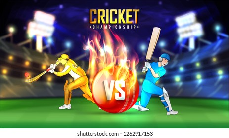 Realistic cricket ball illustration in fire, cricketers in playing action on blurry night stadium background.