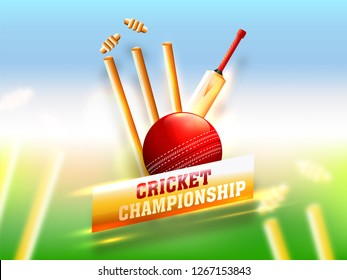 Realistic cricket equipment such as bat, ball and wicket stumps on shiny blurry background.