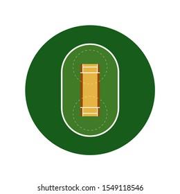 Realistic cricket playground icon. Vector sport field for sport promo design.