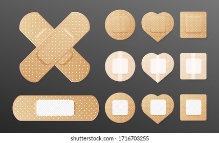 Realistic cross of medical plaster. Set of two sided adhesive plasters. Oblong, square, heart, round skin patch. Sticky bandage. Protective cover. Vector illustration