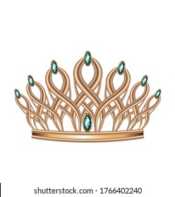Realistic crown, tiara, head jewelry made of gold with emerald stones precious for the king and Queen, Princess and Prince set of vector images