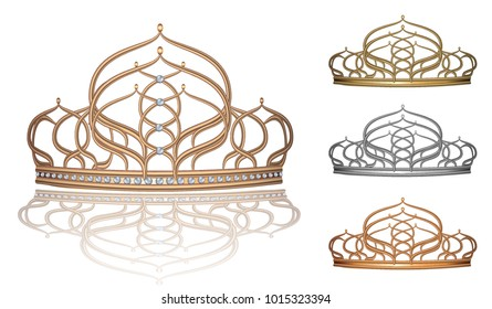 Realistic crown, tiara, jewellery for the head of gold, silver beautiful pearl for the Queen, Princess, set of vector images
