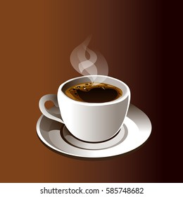 Realistic cup of coffee. Good for menu design. Vector illustration