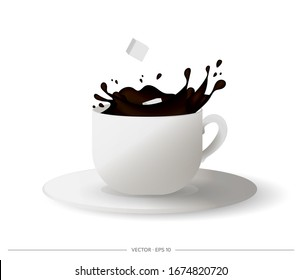 Realistic cup with splashes of coffee. Cubed sugar falling from a cup of coffee. Vector illustration