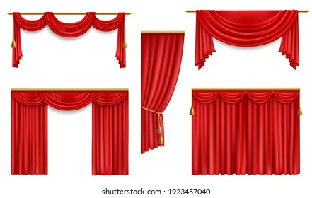 Realistic curtains, 3d vector red folded cloth with gold tassels and pelmet for window or theater stage decoration. Luxury fabric silk or velvet drapery, soft material mockup for interior design set
