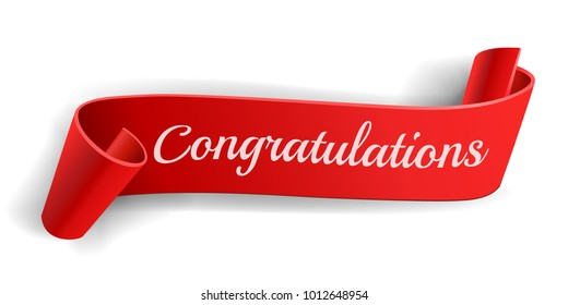 Realistic curved, Red paper banner on white background.Congratulations. Greating card.Blank. Red ribbon. Paper scroll. Vector illustration.